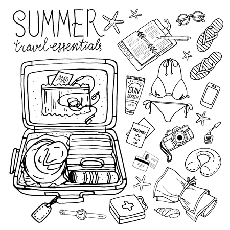 Summer travel essentials. Vector illustration of holiday vacation woman luggage. Vector hand-drown objects illustrations. Black and white.