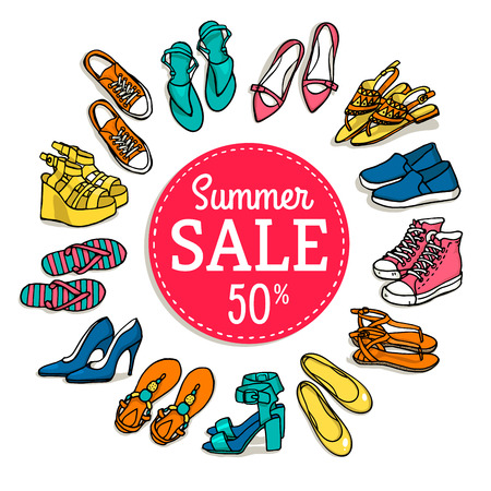 fashion collection: Vector illustration of woman shoes sale banner. Hand-drown objects illustrations. Spring-summer fashion collection. Shopping. Illustration