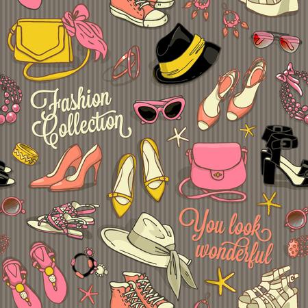 calcanhares: desenhado mão padrão sem emenda do vetor de sacos de sapatos e acessórios de moda feminina Ilustração