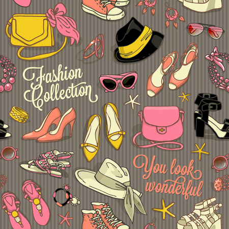 stilletto: Hand drawn vector seamless pattern of shoes bags and female fashion accessories