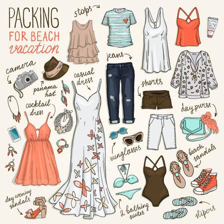 ropa de verano: equipaje del viaje de verano. Embalaje para las vacaciones en la playa. sistema de la ropa de la mujer. Vector de ahogar a mano objetos illustrations.Sketch colección de moda.