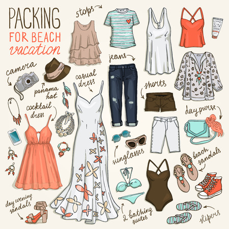 Summer travel luggage. Packing for beach vacation. Woman clothing set. Vector hand-drown objects illustrations.Sketch fashion collection.