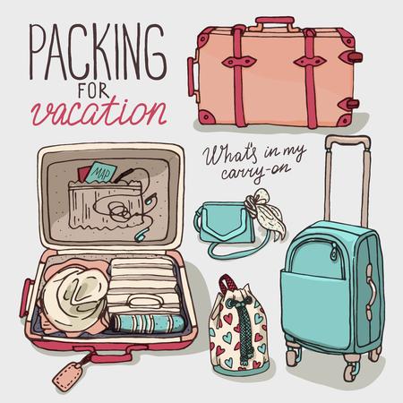 スーツケース、バックパックのトラフィック トランク ハンドバッグ バッグ セット ベクトル イラスト。休暇のためのパッキング。手を紛らすスケ