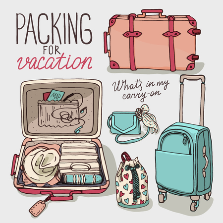 drown: Vector illustration set with bag, handbag, traffic trunks, backpack, suitcase. Packing for vacation. Hand drown sketch