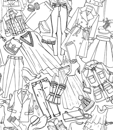 parka: Hand drawn vector seamless pattern of clothes, shoes, bags and female fashion accessories. Can use for print, web, fabric. Black and white doodle illustration. Illustration