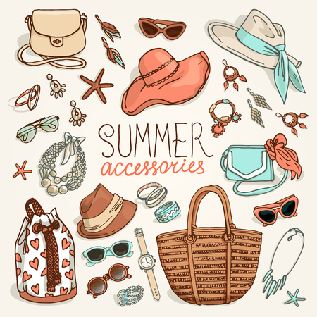brogues: Vector illustration of woman accessories set. Hand-drown objects sketch. Summer fashion collection.
