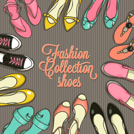 brogues: Hand drawn template with female shoes set. Vector top view objects illustrations. Spring-summer fashion collection. Doodle sketch background for shoes shop in retro style. Illustration