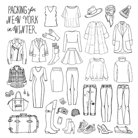 Vector illustration of packing for New York in winter. Sketch of clothes and accessories for design. Female fashion collection set. Winter travel luggage.