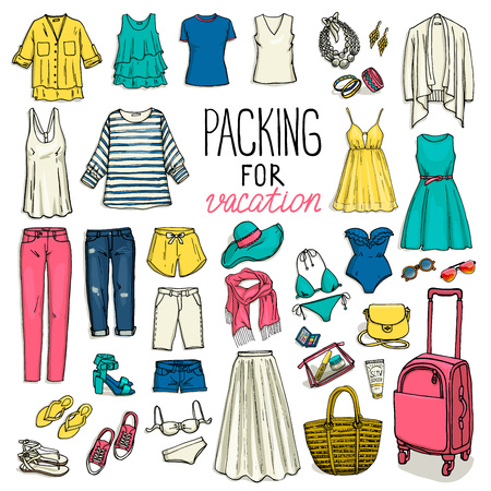 Summer travel luggage. Packing for vacation. Woman clothing set. Vector hand-drown objects sketch. Fashion collection.