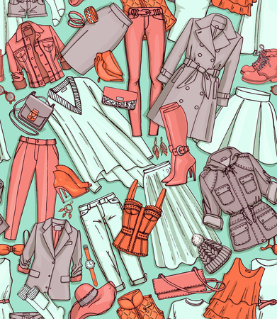blazer: Hand drawn vector seamless pattern of clothes, shoes, bags and female fashion accessories. Can use for print, web, fabric. Turquoise, orange, pink background