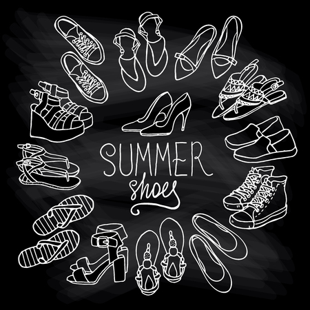 brogues: Vector illustration of woman shoes set. Hand-drown objects illustrations. Black and white fashion collection.