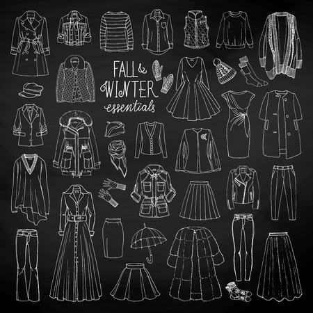 parka: Vector illustration of woman fall and winter fashion collection of clothes. Hand-drown objects sketch with coats, dresses, skirts, jacket, trousers, hats, gloves, socks on blackboard. Black and white set.