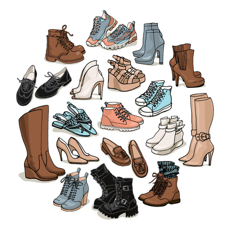 Vector illustration of female shoes, boots set. Hand-drown footwear illustrations. Sketch of fashion collection boots isolated on white background.