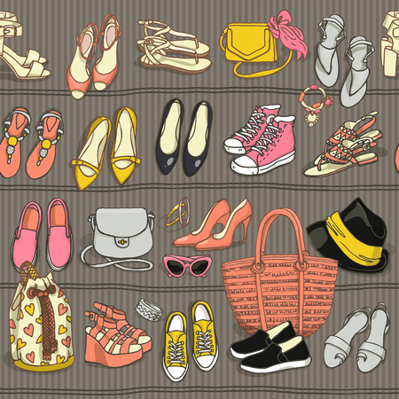 stilletto: Hand drawn vector seamless pattern of shoes bags and female fashion accessories in retro style. Side wiew of shoes, bags, glasses on shelf Illustration