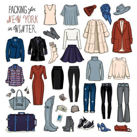 in jeans: Ilustración del vector de embalaje para Nueva York en invierno. Bosquejo de la ropa y accesorios de diseño. Conjunto de la colección de moda femenina. el equipaje de viaje de invierno. Vectores