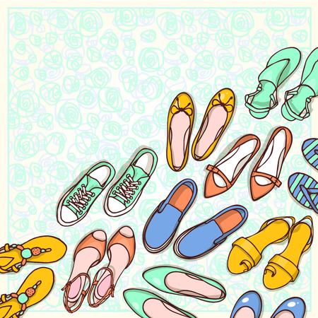 fashion shoes: Hand drawn flyers template for shoes shop. Doodle background for corporate identity store. Printed materials for brochures, folder, flyers, banners.