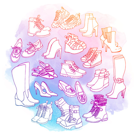 wellingtons: Vector illustration of female shoes, boots set. Hand-drown footwear illustrations. Watercolor fashion collection.