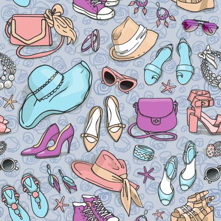 dibujado a mano vector sin patrón de bolsos de los zapatos y accesorios de moda femeninos