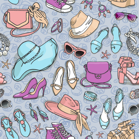fashion shoes: Hand drawn vector seamless pattern of shoes bags and female fashion accessories