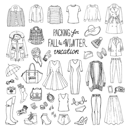 Fall and winter travel luggage. Packing for vacation. Woman clothing set. Vector hand-drown objects illustrations. Black and white fashion collection. Ilustração