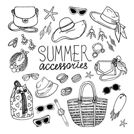 Vector illustration of woman accessories set. Hand-drown objects illustrations. Black and white fashion collection.