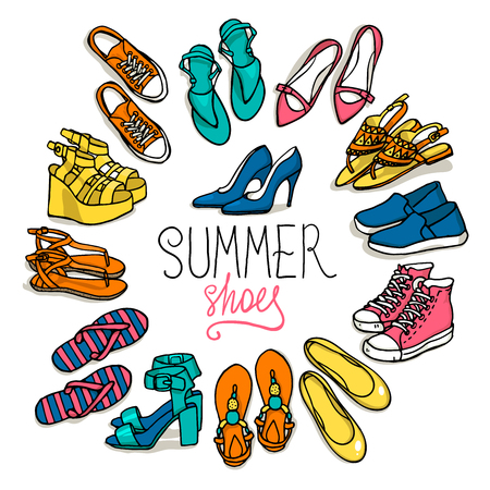 Vector illustration of woman shoes set. Hand-drown objects illustrations. Spring-summer fashion collection. 向量圖像