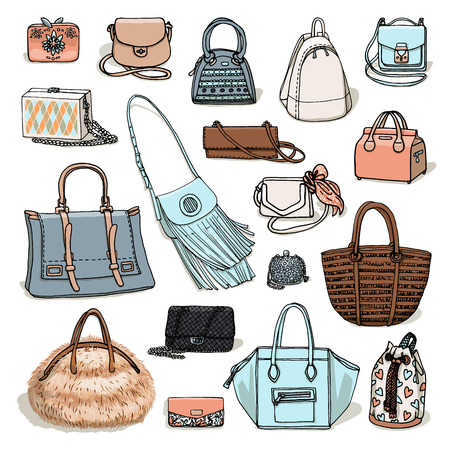 dolly bag: Vector illustration of woman fashion collection of bags. Hand-drown objects sketch isolated on white background. Illustration