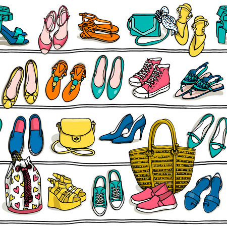 stilletto: Hand drawn vector seamless pattern of shoes bags and female fashion accessories on white background. Side view of shoes, bags, glasses on shelf