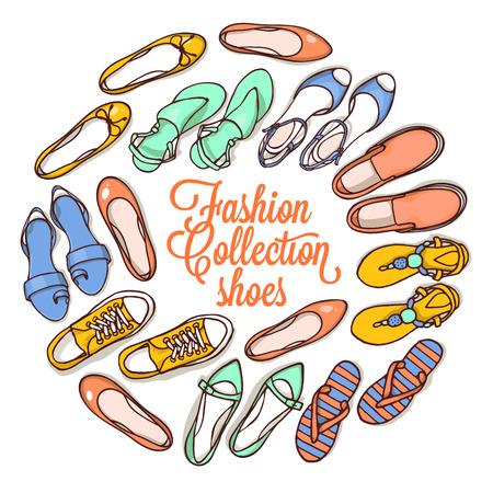 女性靴のベクトル図を設定します。手を紛らすオブジェクトのイラスト。春夏ファッションのコレクション。