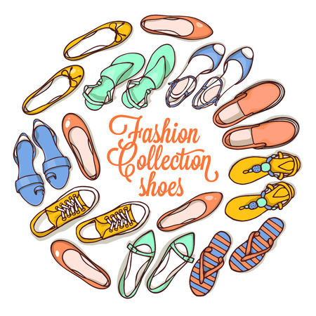 Vector illustration of woman shoes set. Hand-drown objects illustrations. Spring-summer fashion collection. Ilustração