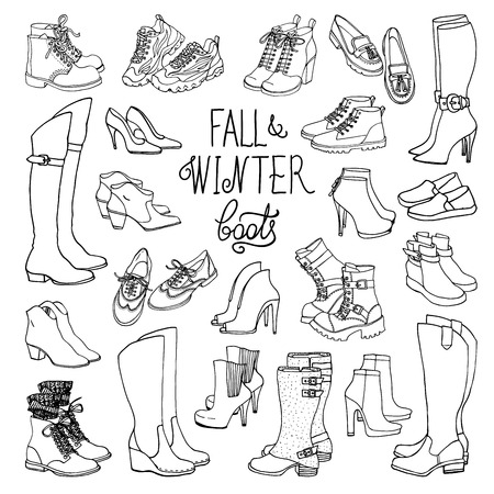 Vector illustration of woman fall and winter shoes, boots set. Hand-drown footwear illustrations. Black and white fashion collection. Illustration