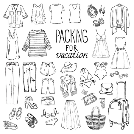 Summer travel luggage. Packing for vacation. Woman clothing set. Vector hand-drown objects illustrations. Black and white fashion collection. Vettoriali