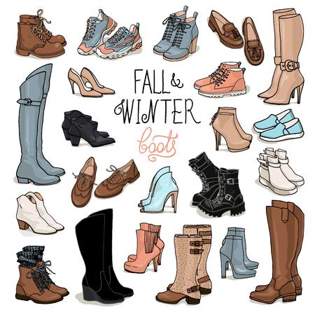 女性の秋と冬の靴、ブーツのベクトル図を設定します。手を紛らす履物のイラスト。ファッション コレクション スケッチ。