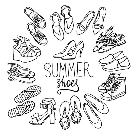 fashion collection: Vector illustration of woman shoes set. Hand-drown objects illustrations. Black and white fashion collection.