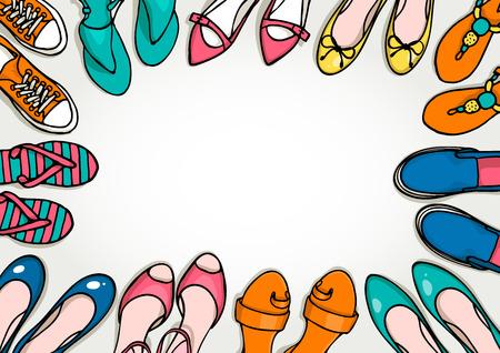 chaussure: dessinée modèle de frontière à la main avec des chaussures de femme serti. Vector top view objets illustrations. Printemps-été collection de mode. Doodle fond esquisse pour magasin de chaussures.