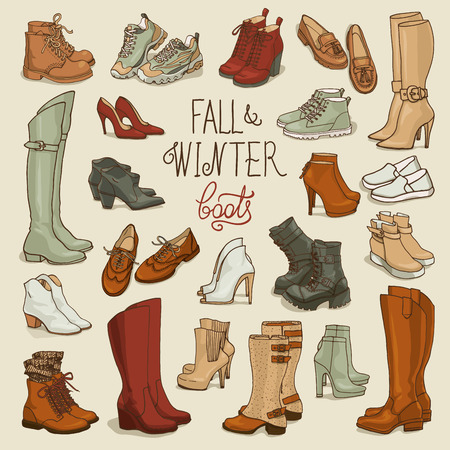 wellingtons: Vector illustration of  female fall and winter shoes, boots set. Hand-drown footwear illustrations. Fashion collection sketch. Illustration