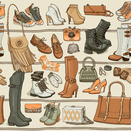 web side: Hand drawn vector seamless pattern of shoes bags and female fashion accessories. Side view coollection on shelf. Can use for print, web, fabric, wallpaper.