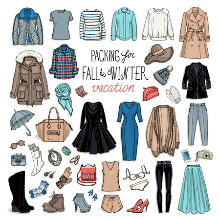 Fall and winter travel luggage. Packing for vacation. Female clothing set. Vector hand-drown objects illustrations of fashion collection. Vettoriali