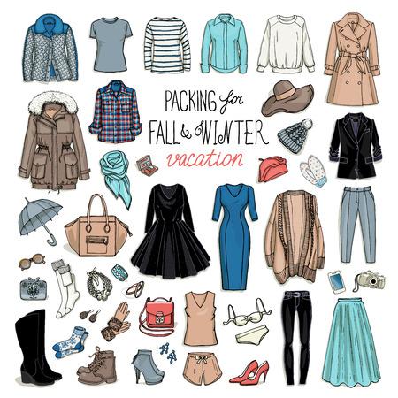 Podzim a zima cestovní zavazadla. Obal na dovolenou. Žena oblečení set. Vektor ruční utopit objekty ilustrace módní kolekce. Ilustrace