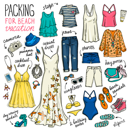 panama hat: Summer travel clothes. Packing for beach vacation. Woman clothing set. Vector hand-drown objects illustrations.Sketch fashion collection.