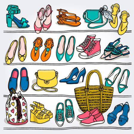 手描きの背景梨花ファッション小物のイラスト。靴やバッグの棚の上の側 wiew