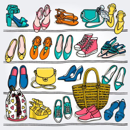 Hand drawn vector Illustration of womans fashion accessories. Side wiew of shoes and bags on shelf