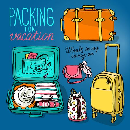 packing suitcase: Vector illustration set with bag, handbag, traffic trunks, backpack, suitcase. Packing for vacation. Hand drown sketch