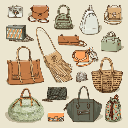 dolly bag: Vector illustration of woman fashion collection of bags. Hand-drown objects sketch isolated on beige background.