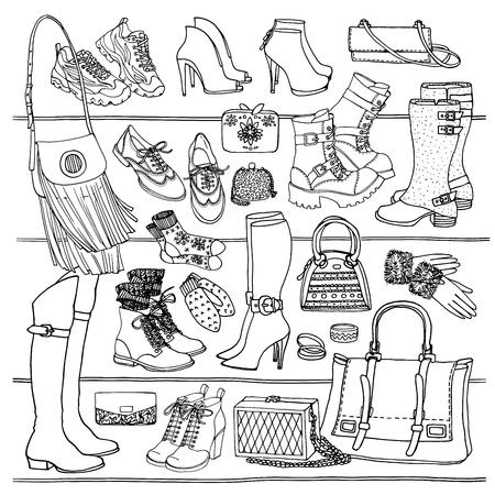 botas: Dibujado a mano vector sin patr�n de bolsos de los zapatos y accesorios de moda femeninos. Wiew lado de zapatos, bolsas, vasos en el estante. Puede utilizar para impresi�n, web, tela. Ejemplo blanco y negro del doodle.