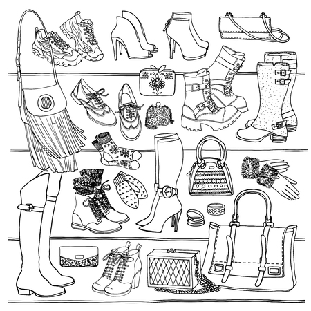fashion shoes: Hand drawn vector seamless pattern of shoes bags and female fashion accessories. Side wiew of shoes, bags, glasses on shelf. Can use for print, web, fabric. Black and white doodle illustration. Illustration