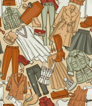 broun: Hand drawn vector seamless pattern of clothes, shoes, bags and female fashion accessories. Can use for print, web, fabric. Brown-beige background Illustration