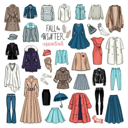 時尚: 女性秋季和衣服冬季時裝矢量插圖。手淹死的對象草圖隔絕在白色背景