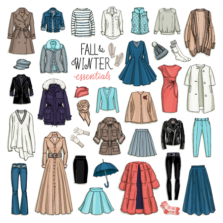 clothes: Vector illustration of female fall and winter fashion collection of clothes. Hand-drown objects sketch isolated on white background