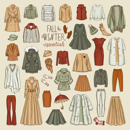 Vector illustration of female fall and winter fashion collection of clothes. Hand-drown objects sketch with coats, dresses, skirts, jacket, trousers, hats, gloves, socks. Illustration